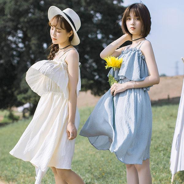 限時38折 韓國風森女吊帶顯瘦荷葉邊拼接無袖洋裝