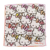 〔小禮堂〕Hello Kitty 純棉無捻紗方形毛巾《灰白.橘粉大臉》34x35cm.方巾.丸真毛巾 4992272-68056