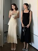 長袖洋裝 2021年秋裝新款慵懶風黑色針織長袖連衣裙韓版寬松顯瘦氣質長裙子 霓裳細軟
