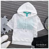 Catworld 拼接透膚網眼運動帽T【11406593】‧S-XL