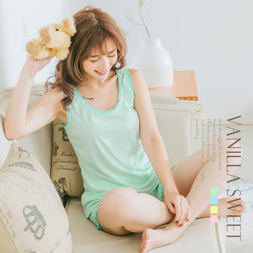 棉質蕾絲花邊小圓點 背心兩件式睡衣 微甜女孩 輕薄居家服 - 香草甜心 清新綠