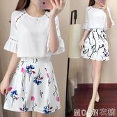 春夏洋裝套裝兩件套雪紡蕾絲衫短袖T恤襯衫女針織衫半身裙  MOON衣櫥