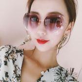 新款網紅無框太陽鏡時尚大框墨鏡女時尚韓版太陽鏡眼鏡潮圓臉   衣櫥秘密