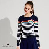 梗犬與彩虹撞色橫條紋針織上衣 Scottish House【AG1468】