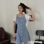 牛仔洋裝-拼接牛仔裙夏季2020新款設計感泡泡袖洋裝女小個子收腰顯瘦裙子 Cocoa
