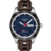 TISSOT天梭 PRS516 賽車動力儲存80機械錶-藍x咖啡/42mm T1004301604100