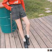 《BA5330》排釦設計格紋毛呢短褲(附腰帶) OrangeBear