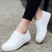 韓版學院風舒適休閒小白鞋 真皮平底防滑樂福鞋《小師妹》sm1798