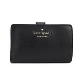 KATE SPADE Staci 防刮皮革雙折釦式中夾(黑色)