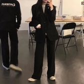 西裝外套-中長版黑色簡約寬鬆女休閒西服73xj26[巴黎精品]