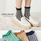 襪子 Space Picnic|現+預.格紋卷邊彈性休閒短襪【C18012000】