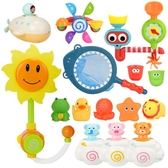 兒童寶寶洗澡玩具向日葵花灑噴水嬰兒男孩女孩戲水玩水轉轉樂玩具
