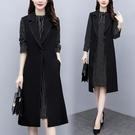 套裝兩件式裙實拍大碼女裝2020新款秋裝中老年女士闊太太洋氣兩件套裝連身裙非A044-E 韓依紡