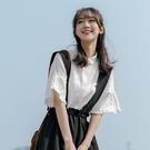 荷葉袖上衣 茉語家白襯衣女荷葉邊上衣2020夏季設計感小眾日系氣質短袖襯衫潮 交換禮物