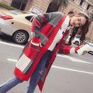 VK精品服飾 韓系格子撞色毛衣針織顯瘦單品外套