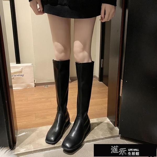 長靴 女秋冬方頭馬丁靴英倫風長靴不過膝騎士靴子顯瘦高筒靴 【全館免運】
