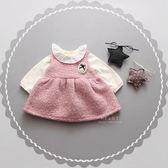 兒童洋裝 復古毛圈加厚背心洋裝 加厚洋裝