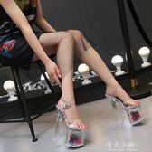 透明水晶鞋涼鞋女細跟超高跟 恨天高花朵防水臺 模特性感夜店20CM 晴光小語