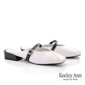 ★2019秋冬★Keeley Ann我的日常生活 方頭V型細帶穆勒鞋(白色)-Ann系列