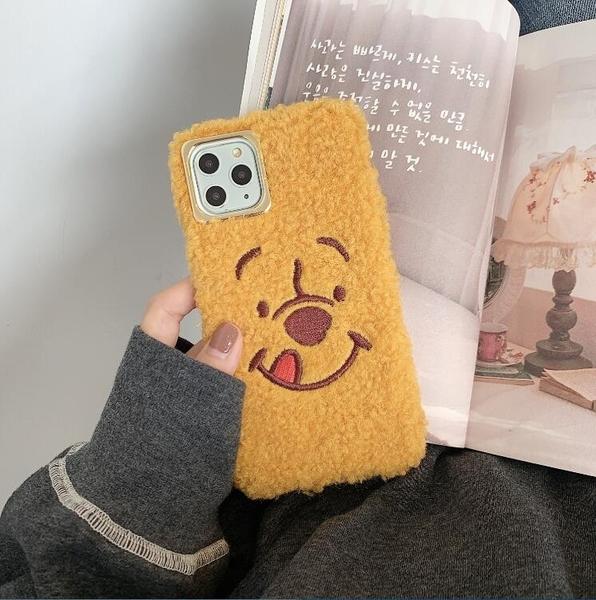 【SZ35】iphone xr手機殼 刺繡維尼熊抱哥毛絨軟殼 iphone XS max 11promax i8 plus手機殼 xs手機殼