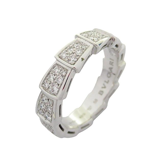 BVLGARI 寶格麗 Serpenti Viper 18K白金鑲鑽蛇形戒指 Ring 58號【BRAND OFF】