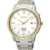 【送輕量背包】SEIKO 精工 Kinetic 紳士型男人動電能手錶-銀x雙色/44mm 5M82-0AX0KS(SKA742P1)