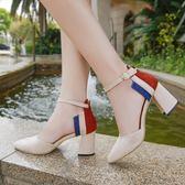 2018夏季新款韓版百搭尖頭拼色高跟鞋粗跟一字扣中空包頭涼鞋中跟