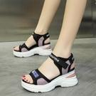 增高涼鞋 新款夏季鞋子女大東妞厚底潮鞋百搭鬆糕鞋增高時尚涼鞋女-Ballet朵朵