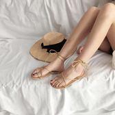 夏季女鞋 平底綁帶羅馬涼鞋女溫柔繫帶百搭時尚單鞋 奇思妙想屋