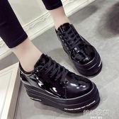 韓版厚底鬆糕內增高單鞋漆皮小皮鞋學院風百搭女鞋 韓語空間