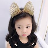 蝴蝶結髮飾兒童大蝴蝶結皇冠發箍女童拍照皇冠頭飾閃亮金絲發飾新品