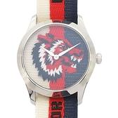 GUCCI 古馳 Wolf-Head Nylon Web Watch 狼頭刺繡白紅藍三色織帶尼龍腕錶 126.4