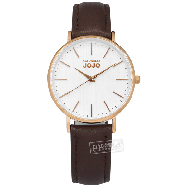 NATURALLY JOJO / JO96932-80R / 簡約木紋 藍寶石水晶玻璃 日本機芯 真皮手錶 白x玫瑰金框x咖啡 34mm
