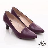 A.S.O 輕透美型 全真皮素面尖楦高跟鞋  紫