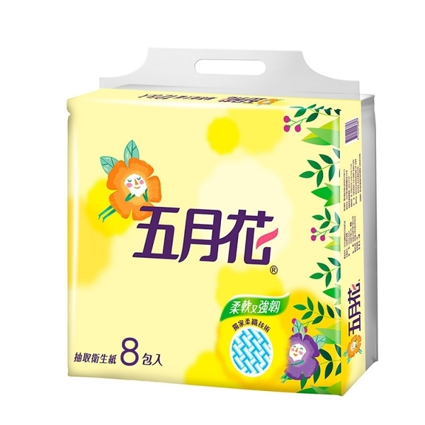 【五月花】花園版抽取式衛生紙100抽x8包x6袋-箱購