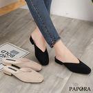 PAPORA典雅圓頭穆勒鞋K7558黑/米(偏小)