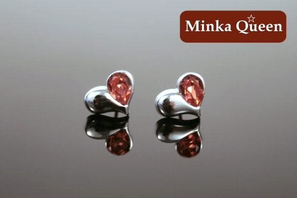 德國鈦鋼 施華洛世奇 橘紅色愛心造型 抗敏耳環(一對)(10 mm)