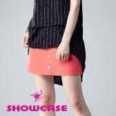【SHOWCASE】俏麗點點緹花前排釦裝飾窄裙(橙)