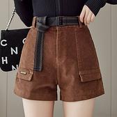 燈芯絨短褲女時尚簡約闊腿靴褲高腰彈力熱褲N195A快時尚