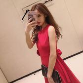 2018韓版小清新紅色連身裙蝴蝶結無袖顯瘦氣