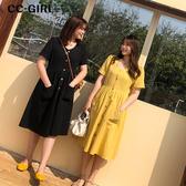 中大尺碼 V領排釦口袋短袖洋裝~共兩色 - 適XL~4L《 68082 》CC-GIRL