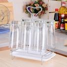 杯子架水杯掛架子玻璃杯茶杯架家用創意收納架廚房帶瀝水盤置物架 小明同學
