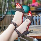 涼鞋女夏季新款魚嘴時尚一字扣韓版高跟鞋粗跟鞋女鞋 快速出貨