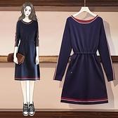 洋裝針織裙內搭裙中大尺碼L-4XL 大碼女裝包芯紗針織連身裙流行氣質收腰顯瘦裙子4F072-9091.胖胖美