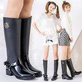 正韓時尚雨靴女高筒成人水靴冬季防滑長筒拉鏈高跟水鞋女士下雨鞋 雨靴 雨靴