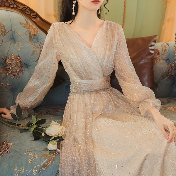 禮服 香檳色晚禮服新款長款宴會優雅主持人生日晚會小禮服連衣裙