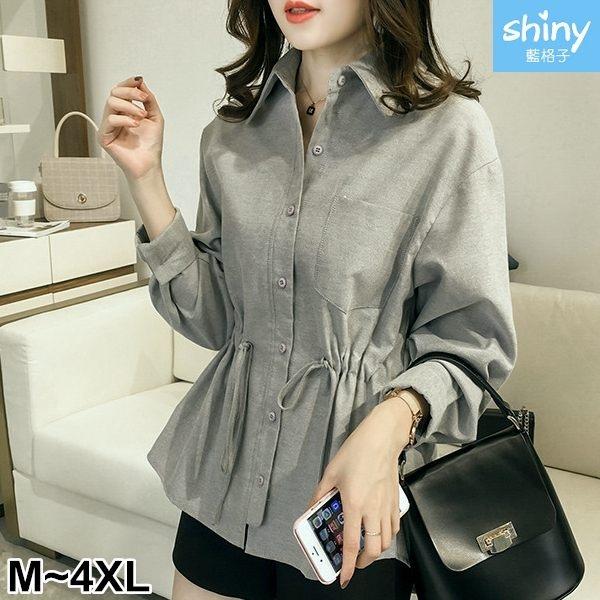 【V2642】shiny藍格子-自然清新.簡單口袋造型抽繩收腰長袖襯衫