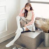 過膝襪女韓國學院風二杠黑色日系高筒襪長筒白色純棉襪子女 格蘭小舖