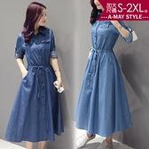 加大碼長版外套-修身綁帶牛仔連身裙/洋裝(M-2XL)