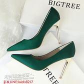 跟鞋 秋季綠色真絲綢緞淺口細跟尖頭高跟鞋黑色OL職業優雅單鞋